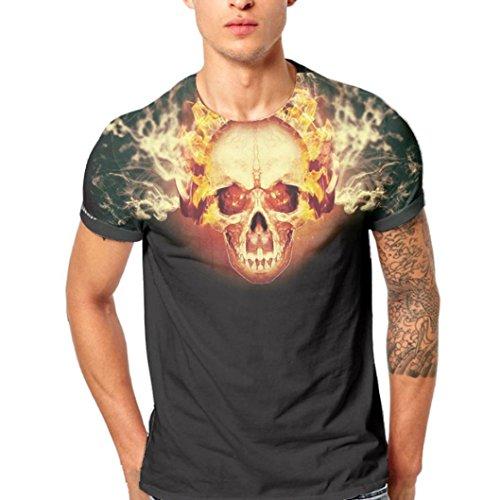 GreatestPAK T-Shirt Männer Herren Schädel Druck Shirt Kurzarm Bluse Tops Tees,Gelb,XL