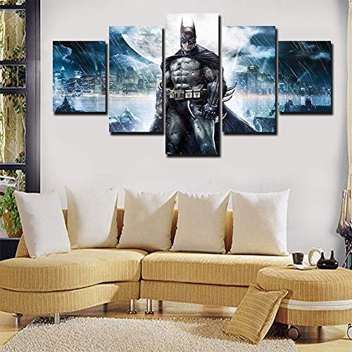 Zmymzm Bilder Batman Bild Auf Leinwand 5 Teilig Eindruck in Fotoqualität Material Vlies Wandbild Kunstdruck Wand Wanddeko Wohnzimmer Wanddekoration,A,M - Eindruck Gerahmt