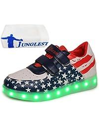 (Present:kleines Handtuch)Gelb EU 37, Sportsschuhe mode Kinder Sneakers LED Klettverschluss Fluorescence