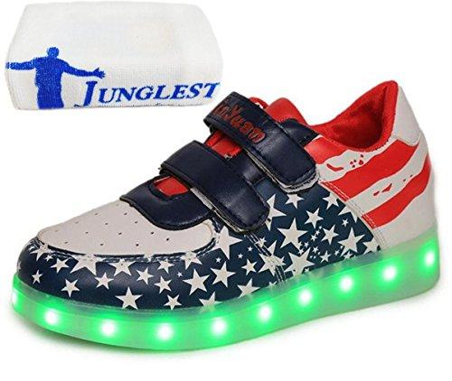 (Present:kleines Handtuch)JUNGLEST Damen Hohe Sneaker Weiß USB Aufladen LED Leuchtend Fasching Partyschuhe Sportsc c28