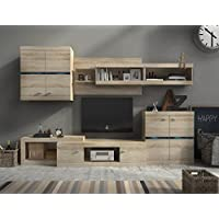 Mueble modular para salón IRON de 280 cm. color roble con cristal y luces LED