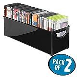 mDesign Set da 2 Contenitori in plastica con maniglie per raccogliere DVD – Porta CD e DVD o videogiochi trasportabile – Ideale anche come portariviste – nero