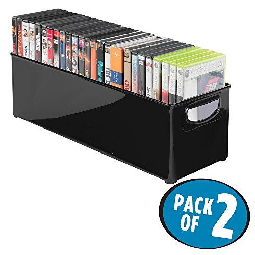 mDesign Juego de 2 Caja de almacenaje apilable para guardar DVDs – Sistema de almacenaje con asas para DVDs, CDs y videojuegos – Caja para DVD de plástico – negro