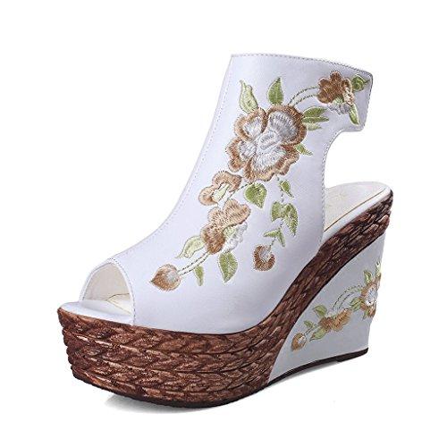 Sandalias de cuña blancas para mujer Sandalias de punta abierta estilo étnico con bordado grueso y tacón alto ( Color : Blanco , Tamaño : 36 )