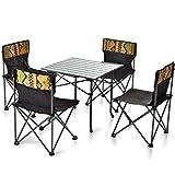 Outdoor Klapptisch Und Stuhl Set, 4 Folding Picknick Stuhl 1 Picknick-Tisch Licht Einfach Falten Zu Tragen Aus Aluminiumlegierung + Stahlrohres, Geeignet Für Camp Strand Barbecue Wandern Tourismus