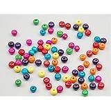REKA–Kolumban Mini colorido redondo madera cuentas para joyería DIY accesorios (aprox. 100Pcs)