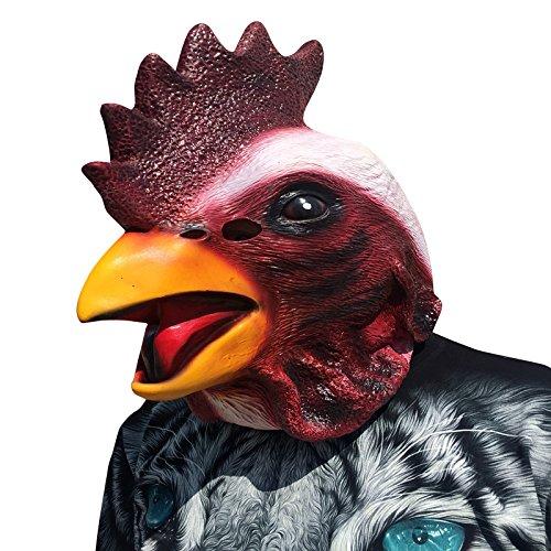 Cock Rooster Huhn Hühnchen Chicken Hahn Kopf Maske mask aus sehr hochwertigen Latex Material mit Öffnungen an Augen Halloween Karneval Fasching Kostüm Verkleidung für Erwachsene Männer und Frauen Damen Herren gruselig Grusel Zombie Monster Dämon Horror Party (Rooster Erwachsene Kostüme)