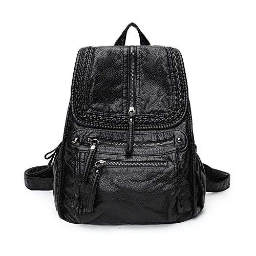 Rucksack Handtaschen Gewaschen Leder Trend Rucksack Lässig Stricken Weiche Pu Student Tasche Reisetasche Groß Schwarz 35X30X17Cm -