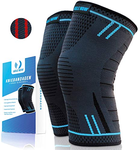 Agile Now Kniebandage [2er Set ] [M - XL] Premium inkl. Ultimativer Ratgeber E-Book die Kniebandage Männer Sport & Kniebandage Damen für alle Sportarten | Kniebandage meniskus | Knee Pads XL