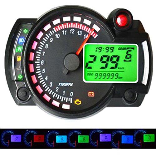 Alamor 12V 15000Rpm Moto Velocímetro Cuentakilómetros Ajustable Impermeable LCD Digital