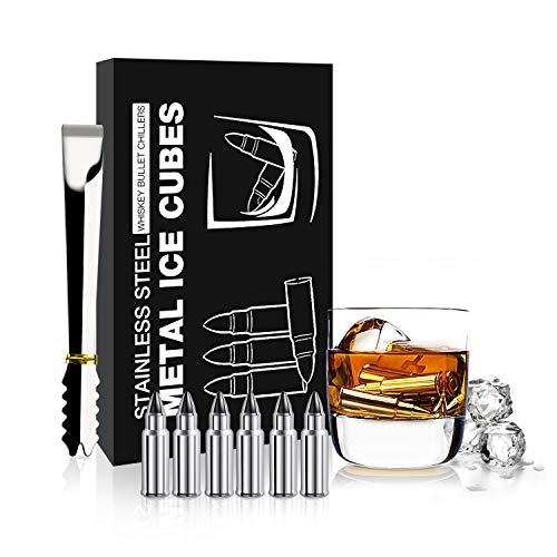 Whisky Bullet Stones chirurgischer Edelstahl-Getränkekühler Wiederverwendbare Eiswürfel Chilling Stones mit Zangen 6 Packs Chilling Bullet Rocks Weinkühler Kühlende Steine Weinkühlstein