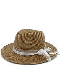 CFHJN Home Moda de Paja Sombreros para el Sol para Mujeres con Sombreros de  Pamelas Bodas f6d11abb305