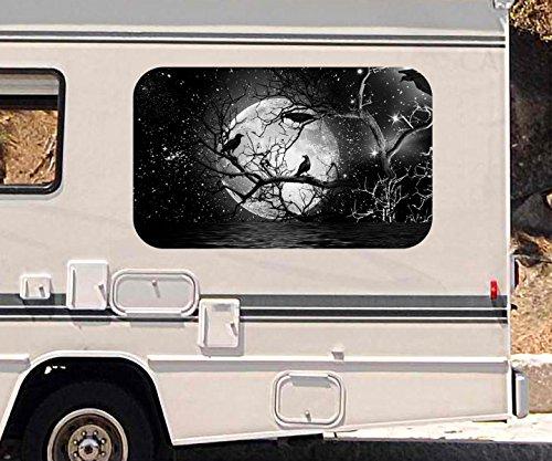 3D Autoaufkleber Vollmond Raben Baum Halloween schwarz weiß Wohnmobil Auto Fenster Motorhaube Sticker Aufkleber 21A295, Größe 3D sticker:ca. 161cmx 96cm
