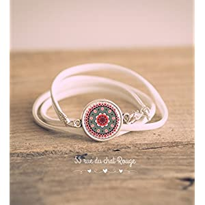 Armband verdoppelt die white leather Nachahmung, Mantra, mandala Rose und grau Cabochon