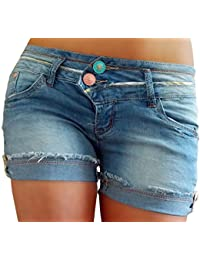 4d6f2a18518d if she Damen Jeans Shorts Kurze Hose zum krempeln Stretch Used Effekt  hellblau verwaschen Knöpfe rosa