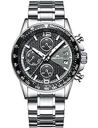 Herren Edelstahl Uhren Männer Chronograph Sport Wasserdicht Datum Kalender Luxus Design Armbanduhr Geschäfts Beiläufig Mode Kleid Stoppuhr Analog Quarz Uhr mit Schwarz Zifferblatt Silber Uhrenarmband
