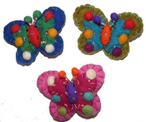 Hand verschönert Filz Schmetterling Brosche - Fair Trade ( 3er Set) (Tasche Verschönert)