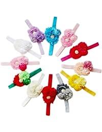 Wuiyepo Accessoires 12pcs Filles Enfant Fleur Bandeau Chapeaux bande de cheveux Bow