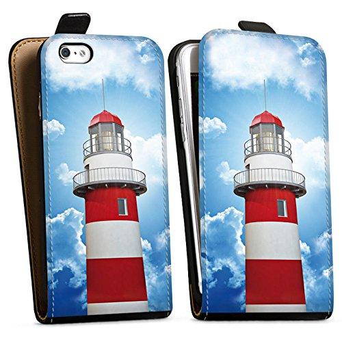Apple iPhone 6 Tasche Hülle Flip Case Leuchtturm Himmel Wolken Downflip Tasche schwarz