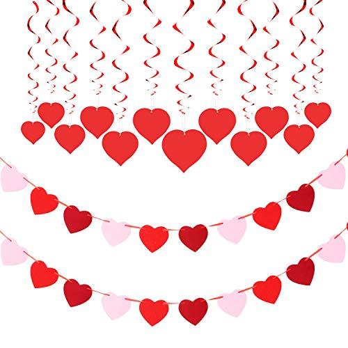 2 Juegos Pancartas de Corazón de Día de San Valentín Guirnalda de Corazones de Fieltro y 12 Juegos Espirales Colgantes de Corazón para Materiales de San Valentín Fiesta Cumpleaños
