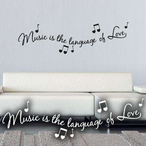 """Wandkings Wandtattoo """"Music is the language of Love (mit 5 Musiknoten)"""" 60 x 17 cm – erhältlich in 33 Farben und 5 Größen"""