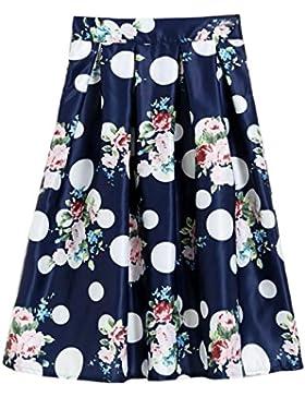 Sunnyshopday 84 1950s Falda Plisada Estampado Floral Falda de Playa Cintura Alta Vestidos Mujeres