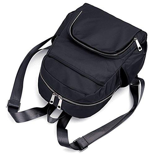 UTO leicht Nylon RUCKSÄCKE Unisex Rucksack Schule College BuchTasche Reise Tasche Schultertasche Purse schwarz schwarz