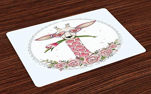 ABAKUHAUS Valentinstag Platzmatten, Süße Hipster Giraffe mit Tulpe und Herz geformt Brille Vintage Frame, Tiscjdeco aus Farbfesten Stoff für das Esszimmer und Küch, Babyblau Hellrosa