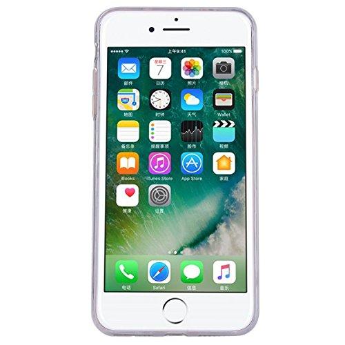 Yokata iPhone 7 Hülle Transparent Weich Silikon TPU Case Handyhülle Schutzhülle Durchsichtig Clear Backcover Bumper mit Pecker Muster + 1 x Kapazitive Feder Flamingos