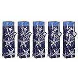 Sigel GT027 Flaschen-Geschenktüten aus Papier Weihnachten 5er Set, blau - weitere Größen
