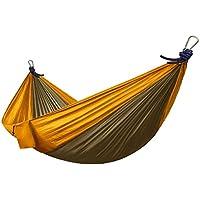Hamaca de seda de paracaídas ultra ligera - Chill-Swing - hamaca gigante XXL para dos personas de nylón de paracaídas, 2,70 x 1,40 cm, de la marca Ocean5, en oro/marrón