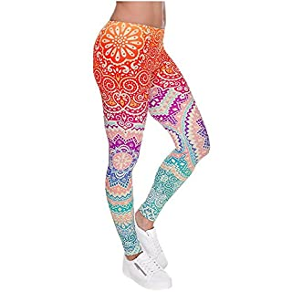 Alive Women's New Design Supernova Unicorn Rainbow Digital Printed Tight Leggings , One size (Aztec Round Ombre)