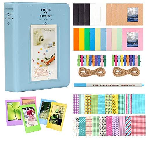 Anter Album Photos Accessoires fit to Fujifilm Instax Mini caméra, pignon HP, Polaroid Zip, Snap, Snap Touch Films d'imprimante avec des Autocollants de Film, Album et Cadre (64 Pocket, Bleu)