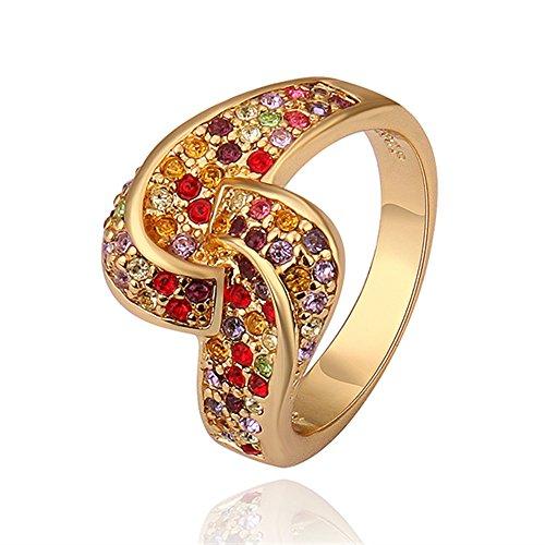 NYKKOLA-Orecchini da donna placcato oro giallo 18K nuovo anello di cristallo colorato con design classico, (Oro Giallo Mens Wedding Band)