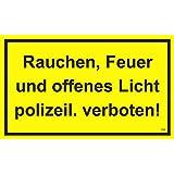 Rauchen, Feuer und offenes Licht plolizeil. verboten!, 150 x 250 mm, Warning-, description- and prohibition-sign, PST-plastic