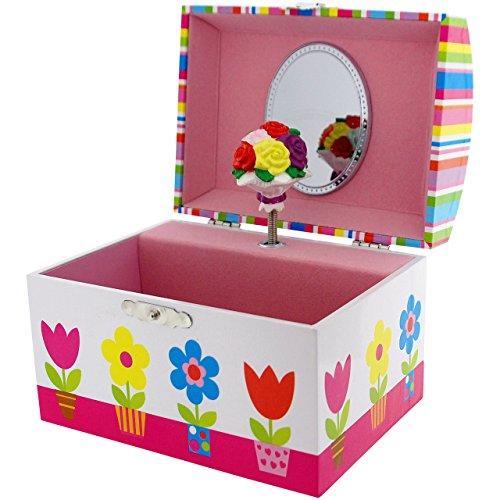 Mele Mädchen Azalea gezwirbelt Blumen musikalische Schmuckbox Spiegel (Kleines Azalea Kind)
