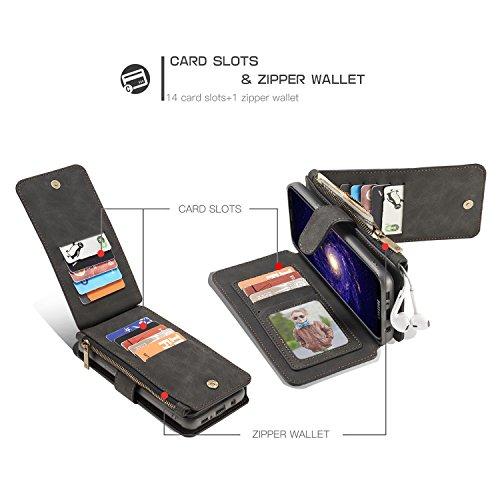 Handy-Hüllen & Hüllen, Für Galaxy S8 Fall CaseMe abnehmbarer TPU PC lederner Karten-Geld-Reißverschluss-Mappen-Kasten ( Farbe : Braun ) Schwarz