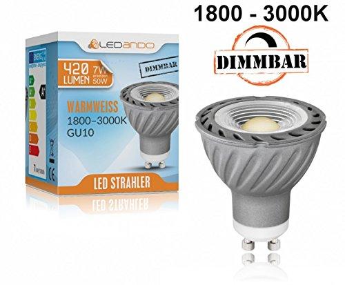 NEU! LEDANDO GU10 COB LED Strahler 7W mit dimmbarer Farbtemperatur - 1800-3000K warmweiß - Ra >95 - 420lm - 60° Abstrahlwinkel - anti-glare Linse - 50W Ersatz [7 W LED Spot GLOW DIM TO WARM]