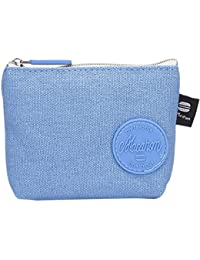 Blue: Kingko Unisex Women Girls Cute Fashion Coin Purse Canvas Wallet Bag Key Holder Card Pouch (Blue)