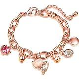 SOANGPANNA Rosegold Armband Damen Rose Vergoldet Kristall Armreif mit Fisch Katze Modeschmuck Charms Geschenk für Frauen
