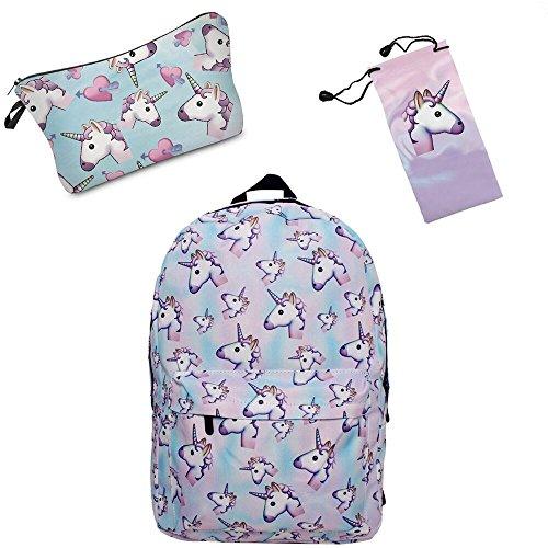 Imagen de smallbox 2017 nueva moda unicornio patrón  de la escuela de las muchachas totalmente impreso viaje de la cabina bolsa pack de 3  azul