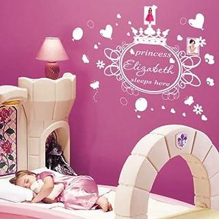 amazing sticker Personalisiertes Princess Sleeps Here Kinder Zitat/Wandtattoo Art Sticker/Aufkleber, dunkelgrau, S