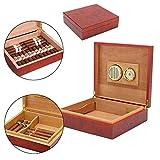 Mini Humidor de Cigarrillos para Viajes, portátil, humidor de Cigarrillos de Madera de Cedro, con humidificador, higrómetro para 20 Cigarrillos - Caja de Madera de Cedro