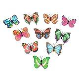 LHWY 10 Stück Wandsticker Aufkleber Butterfly LED Lichter mit Taste Wandsticker 3D Haus Dekoration