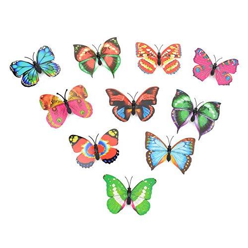 LHWY 10 Stück Wandsticker Aufkleber Butterfly LED Lichter mit Taste Wandsticker 3D Haus ()