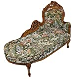 Casa Padrino Barock Chaiselongue Gobelin Muster / Braun – Antik Stil Möbel Lounge Liege Recamiere - 2