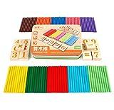 Hillento carte di legno e canne numero conteggio, conteggio di legno e l'aritmetica set con scatola, giocattoli educativi per bambini in età prescolare, sussidi didattici matematica attacca giocattoli educativi