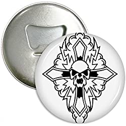 Religión cristianismo Cruz Calavera redondo abridor de botellas nevera Imán Pins Badge botón regalo 3pcs