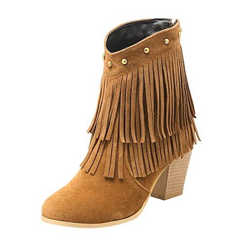 UH Damen Stiefeletten High Heels Blockabsatz Fransen Ankle Boots mit Reißverschluss und nieten Fashion Schuhe