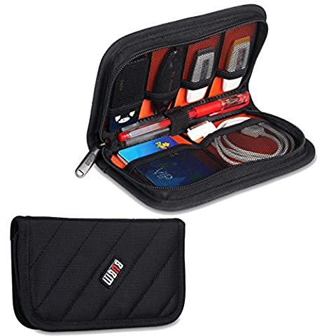 BUBM Universal Electronics Accessories Travel Organizer Cables Bag USB Case for USB Cable Memory Card Power Cord Battery Storage Mobile Disk Bag- Black